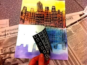 Cityscape on paper...warm and cool watercolors, scratchfoam board city print on top