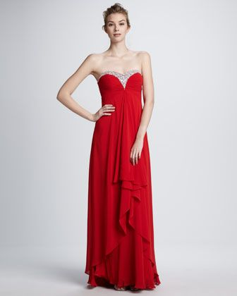 Zac Posen Off-the-Shoulder Sweetheart-Neck Gown, Tuscan Red - Neiman ...