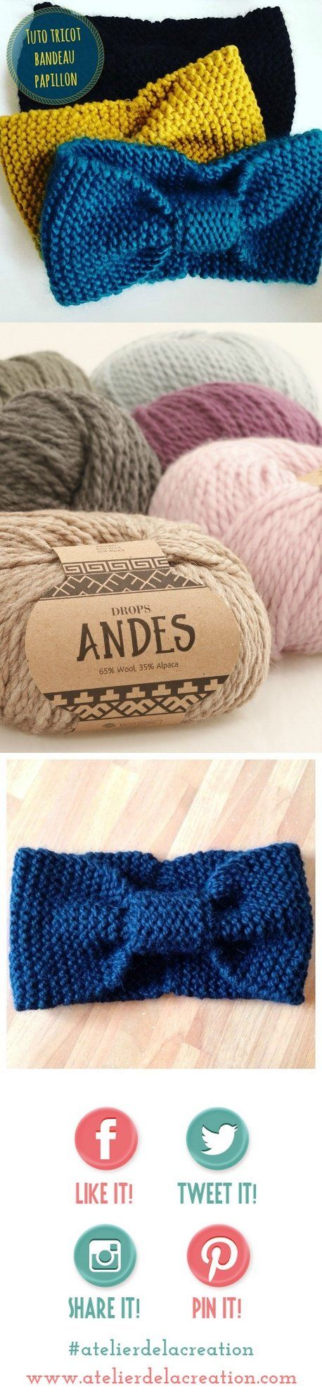 tuto tricot bandeau papillon en drops andes fil laine tissu. Black Bedroom Furniture Sets. Home Design Ideas