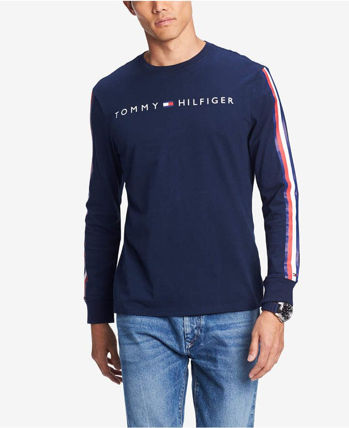 f9a867ba2 Tommy Hilfiger Men Knox Stripe-Sleeve Logo Graphic T-Shirt in 2019 ...