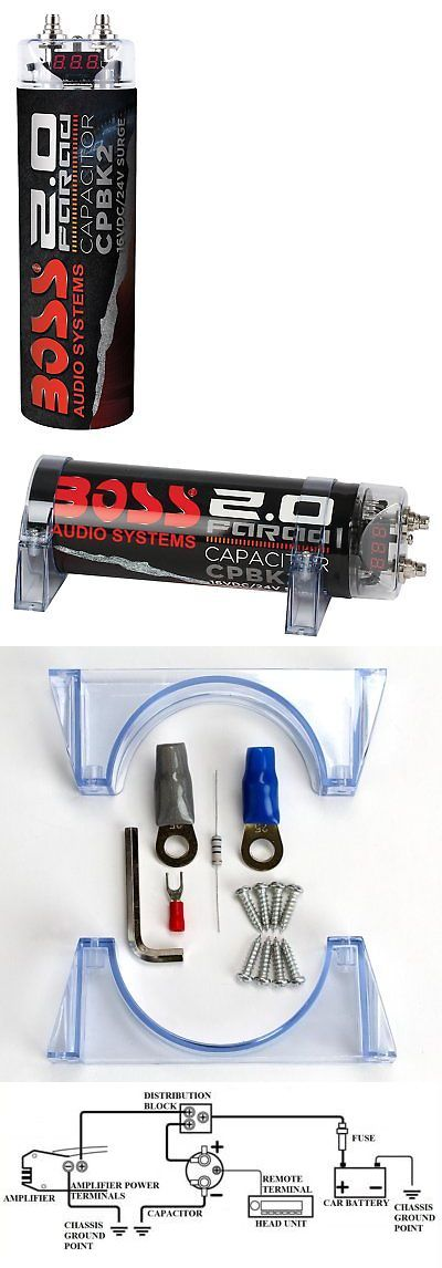 Capacitors Boss Cpbk2 2 Farad Car Digital Voltage Capacitor Power Audio Cap 8 Ga Amp Kit Buy It Now Only 32 28 On E Capacitors Energy Storage Led Voltage