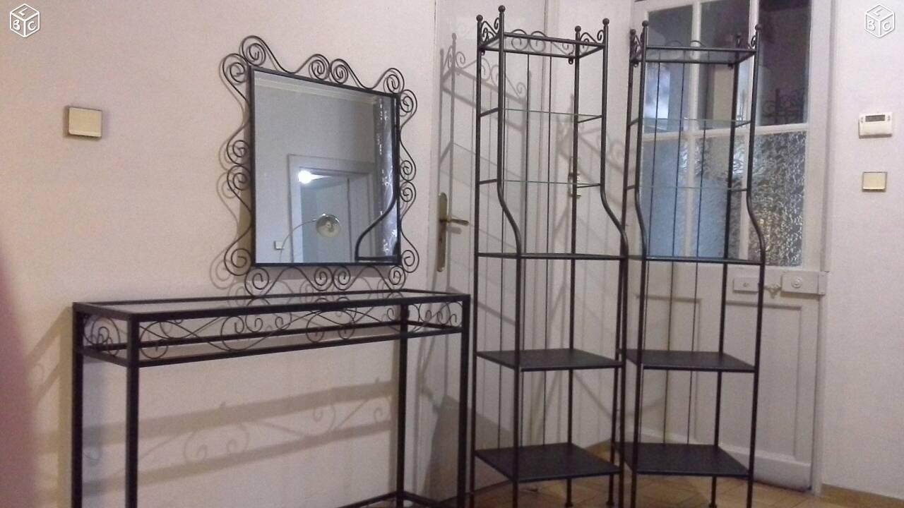 Lot Meubles Fer Forge Et Verre Mobilier De Salon Deco Interieure Meuble Fer Forge