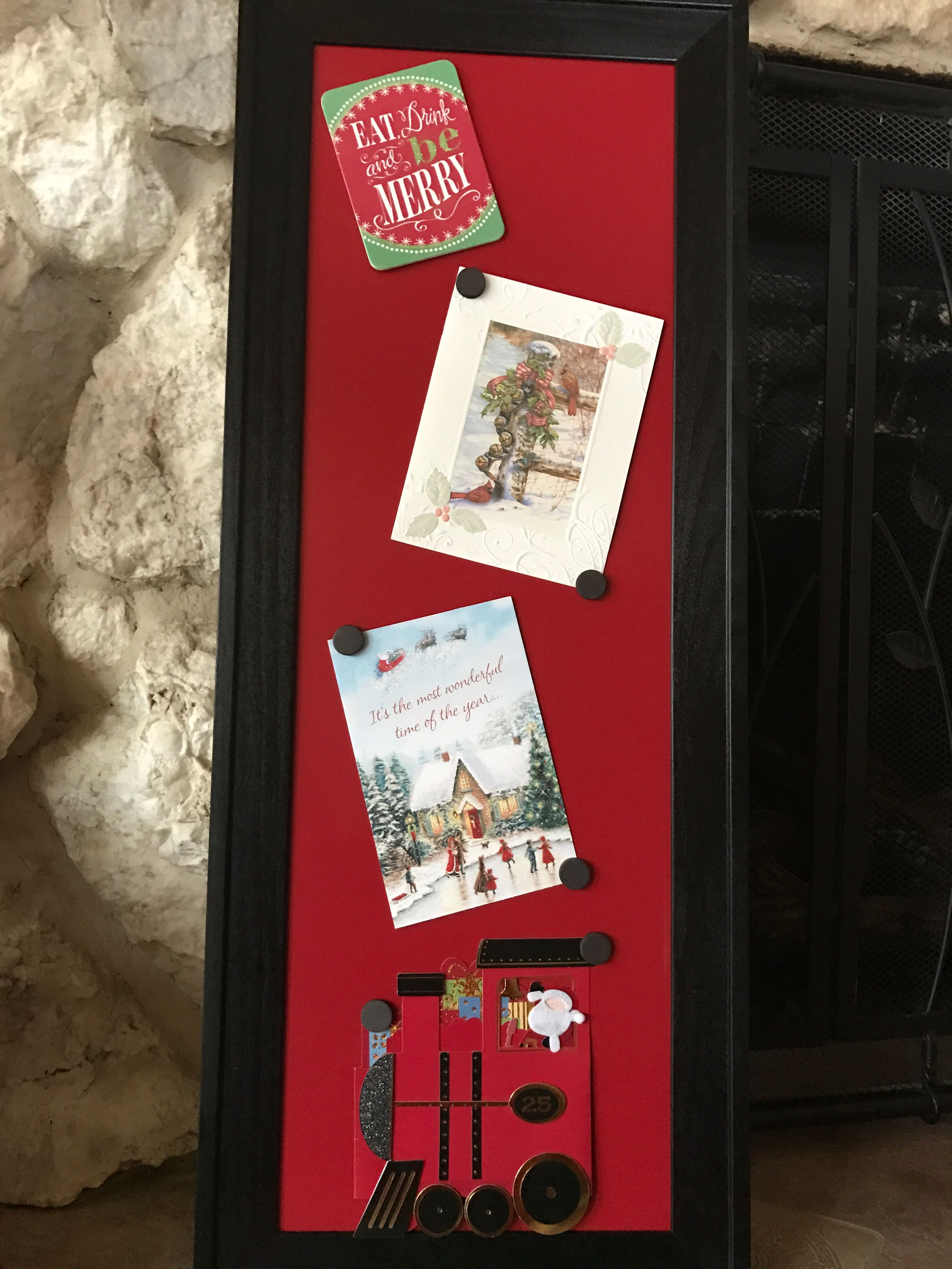 Fun & practical way to display Christmas cards! Magnetic & you can ...
