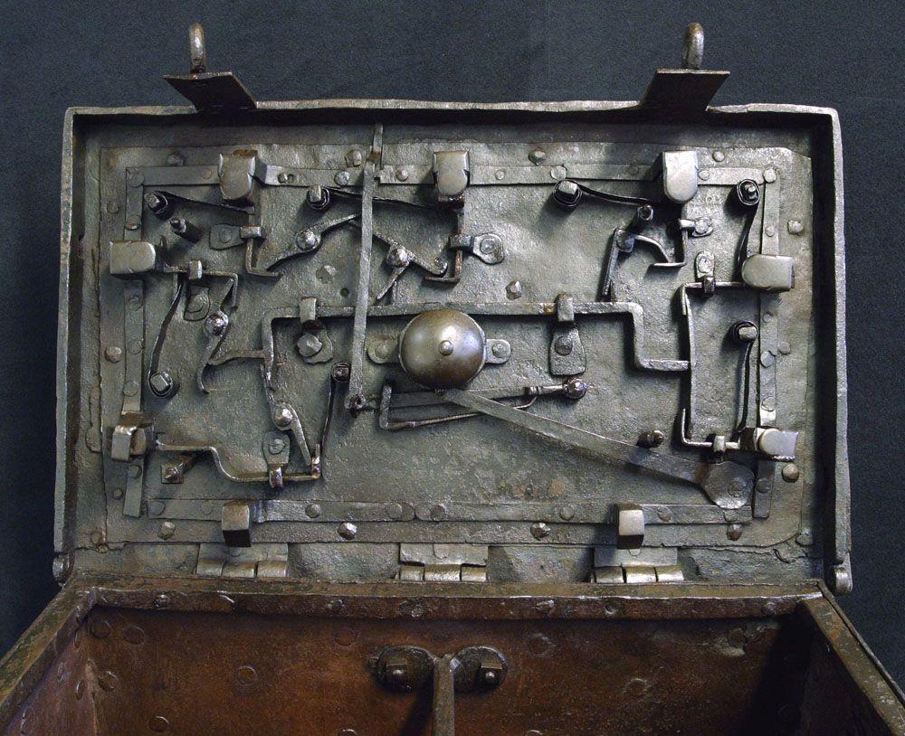 17th Century Iron Chest Treasure Strongbox Vallejo Maritime Gallery 18th Century Marine Art 19th Century Marine An Shadow Box Art Strongbox Antique Safe