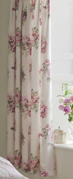rideaux doubl s t te fourreau pliss e mia vintage 300 fils motif floral multicolore 167 x. Black Bedroom Furniture Sets. Home Design Ideas