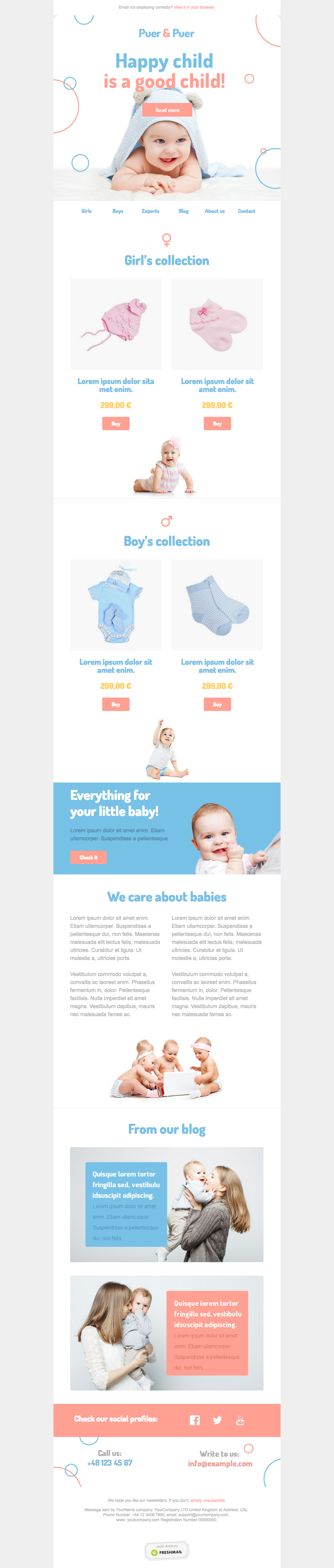 ECommerce Newsletter Template Created By Freshmail Sign Up Free