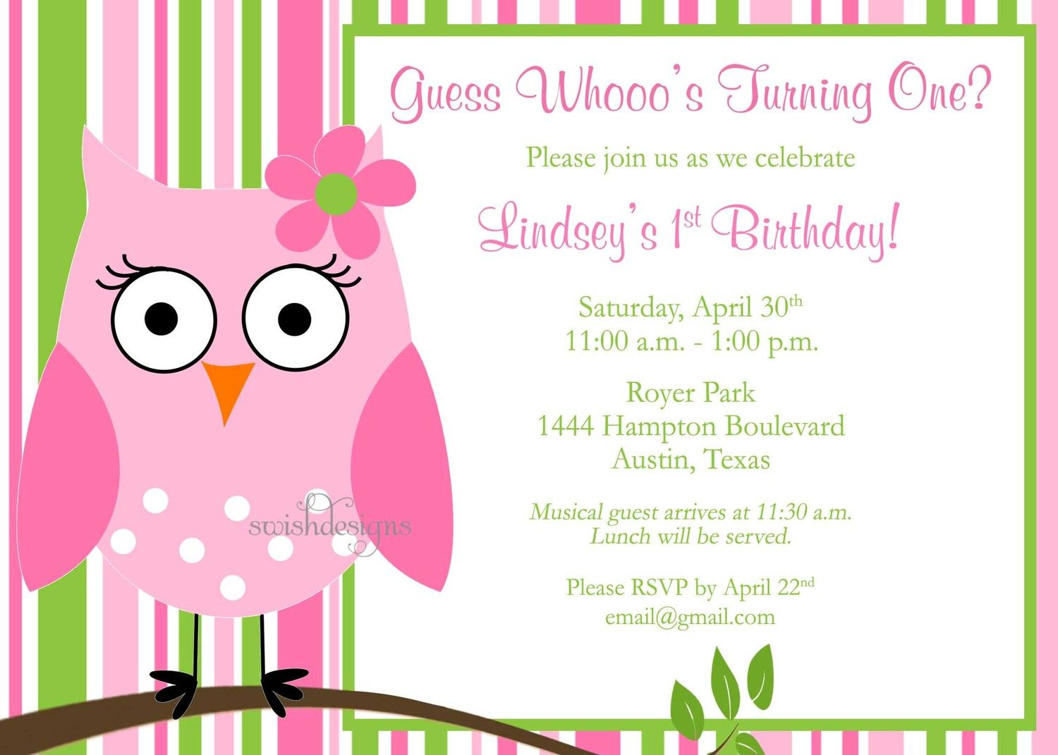 Printable Owl Birthday Invitation With Photo