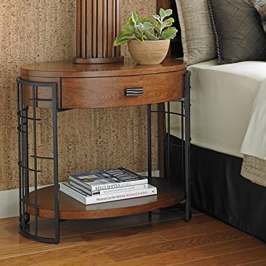 Tommy Bahama Island Fusion Sendai Wood Nightstand in Dark Hickory