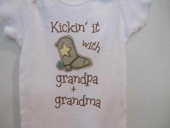 Grandpa Baby Outfit Grandpa Baby Bodysuit Grandpa Baby: Kickin It With Grandpa & Grandma Onesie OR Toddler Shirt