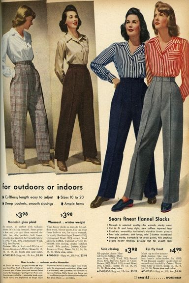 1940s Fashions In Red White Blue With Images: Women's 1940s Pants Styles- History And Buying Guide