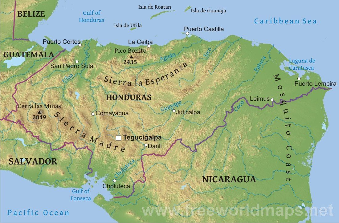 Honduras Physical Map Honduras Mission 20232026 Pinterest