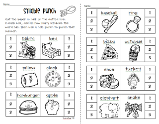 Syllable Count hole-punch activity - 1st grade level | Morphology ...