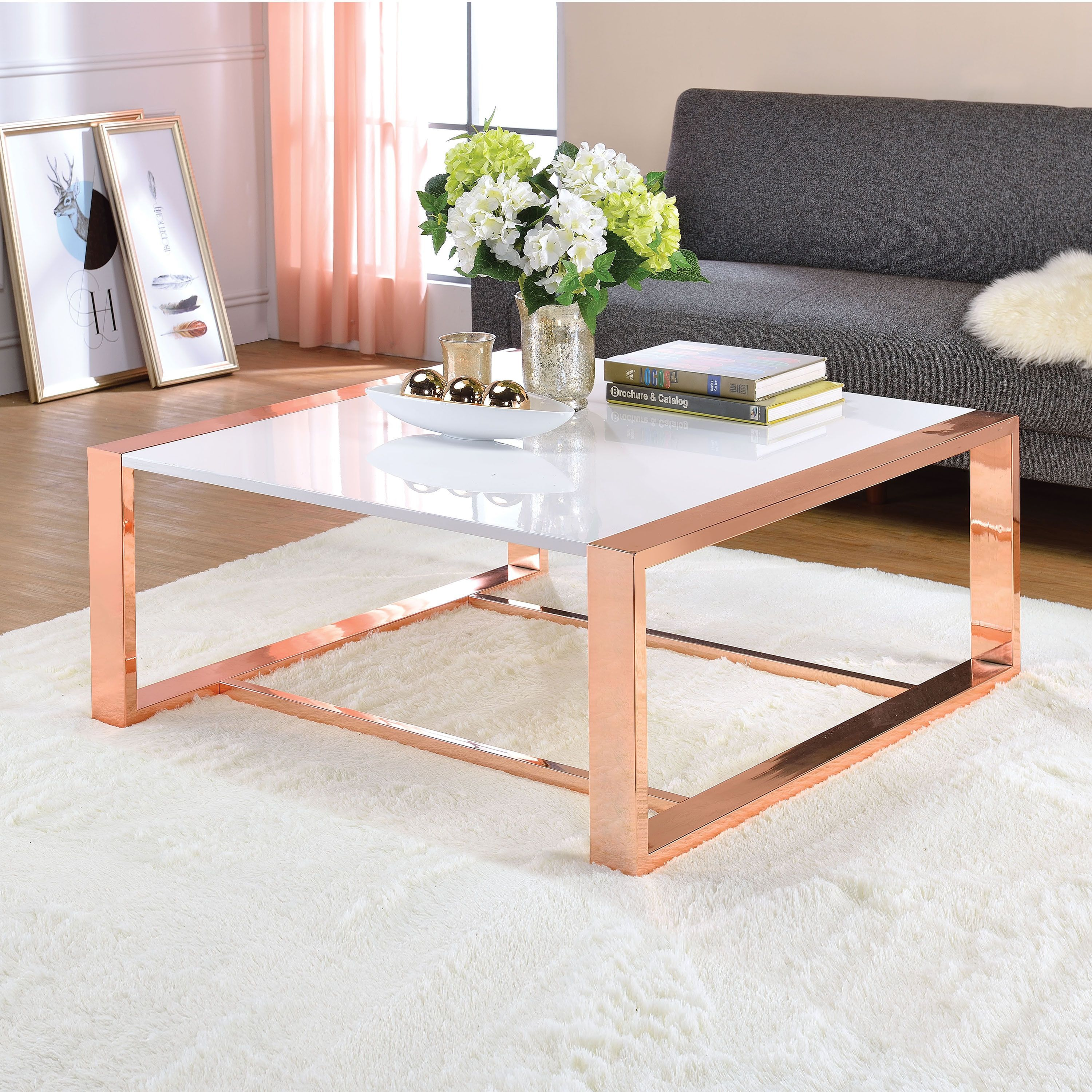 Acme Furniture Porviche White High Gloss And Rose Gold Coffee