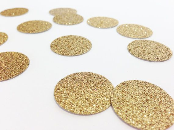 100 Gold Glitter Circle Confetti  1  by tenderlovecardstock