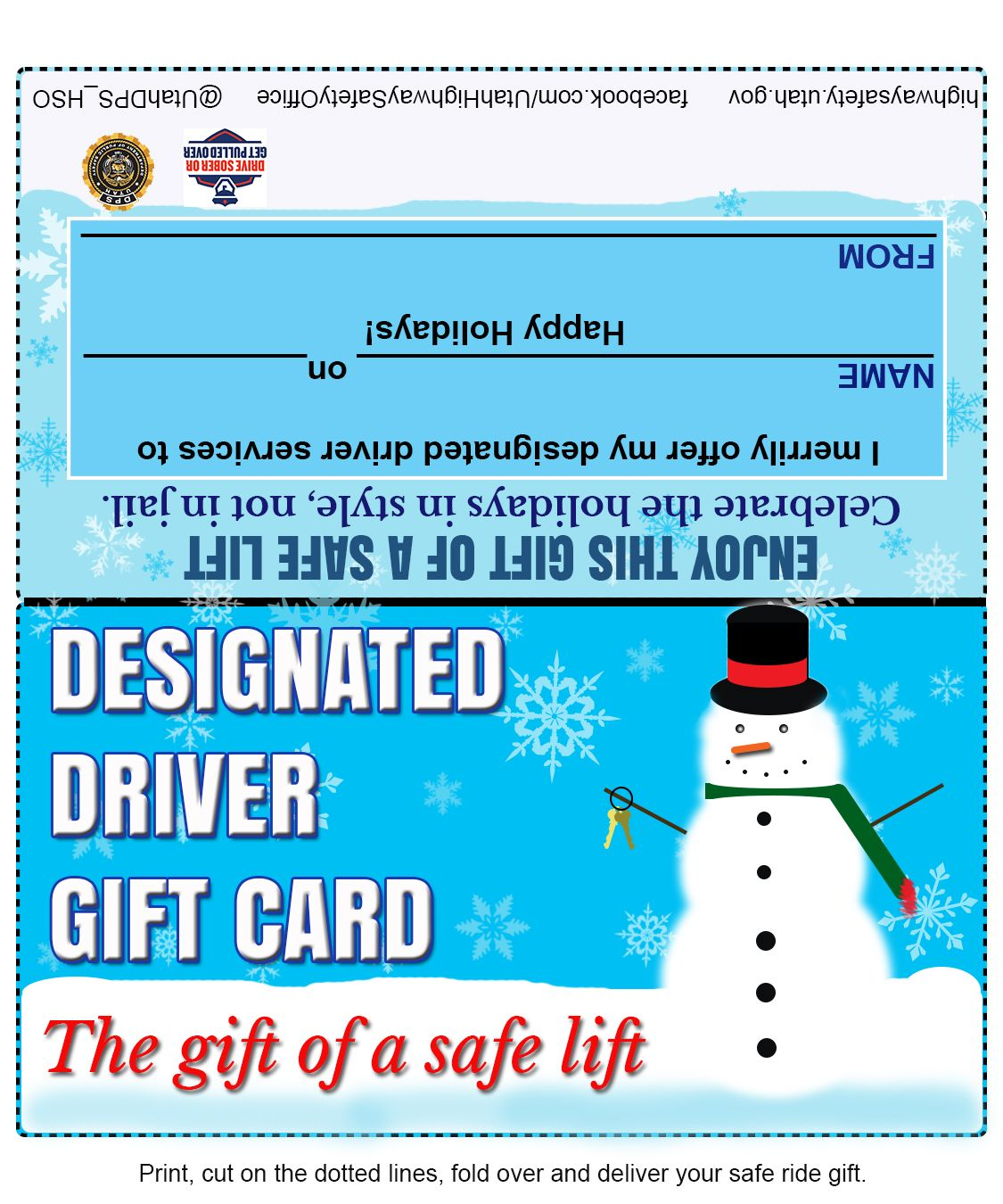 Give the gift of a safe lift print your designated driver