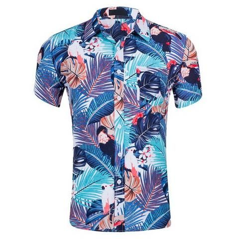 4459dc46e27 LAAMEI Summer Fashion Mens Shirt Slim Fit Short Sleeve Floral Shirt  Hawaiian Men Clothing Trend Plus Sizes Casual Flower Shirts