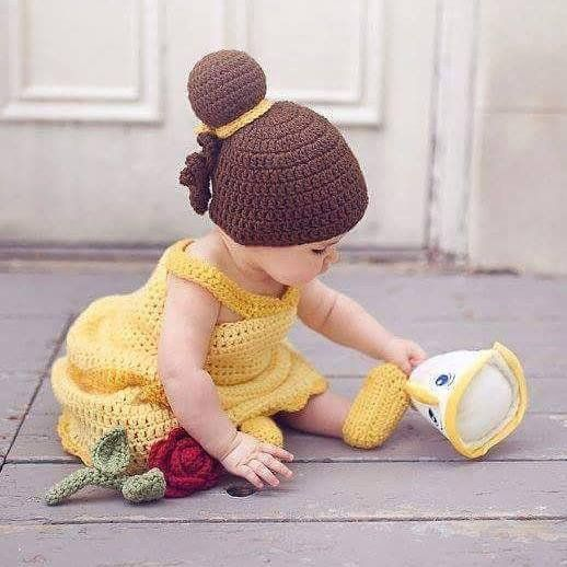 6a69bc417d396 Crochet Baby Belle Beauty and the Beast Infant Newborn Baby Dress ...