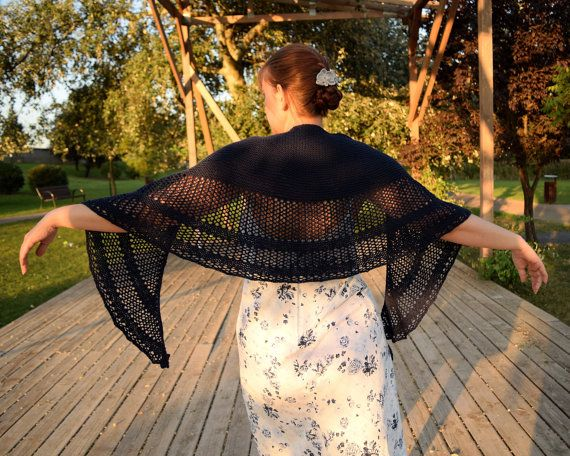 Wool lace shawl Crochet shawl Dark blue shawl Baho by GAMMAstudio