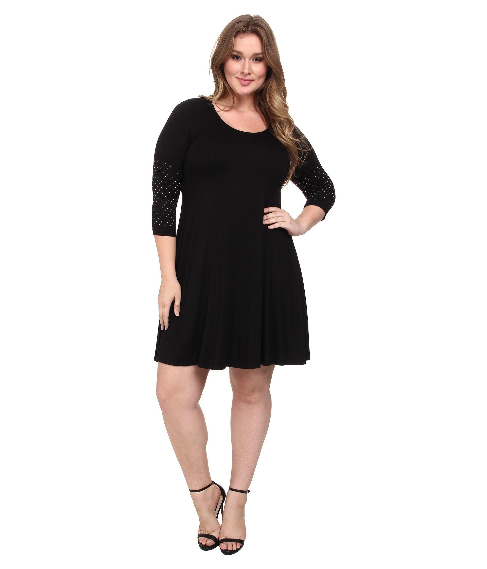 3 4 sleeve black dress plus size image collections - dresses