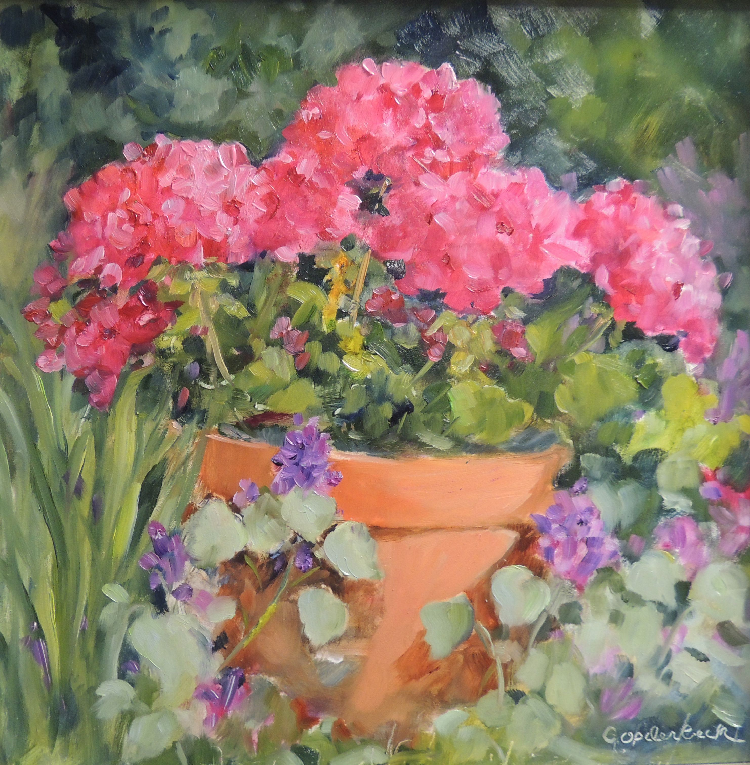 Potted Geraniums 10 x 10 Oil painting on gessobord | garden art ...