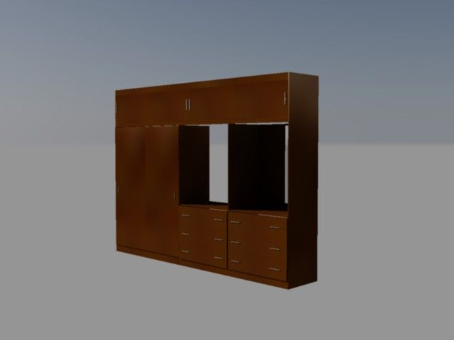 Diseño de mueble para dormitorio closet, tocador y área de tv