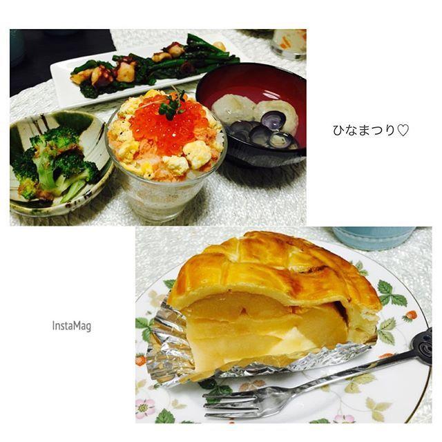 mayuu082お家ごはん(#•v•#)♡ ひなまつり意識してカップちらし寿司にしました デザートにアップルパイとお土産のおやき3つ食べてお腹いっぱいマミーズのアップルパイりんごがいっぱいで美味しかった太ってゆく(*∩ω∩) #ひなまつり#3月3日#カップちらし寿司#アップルパイ#マミーズ#おうちごはん