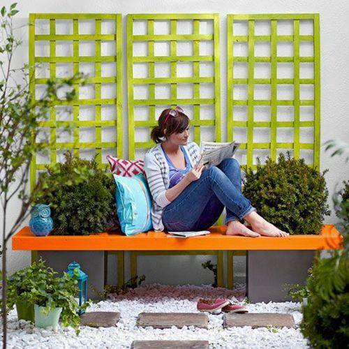 Gartenbank selber bauen Anleitung orange sitzplatz Terrasse - gartenbank selber bauen bauanleitung