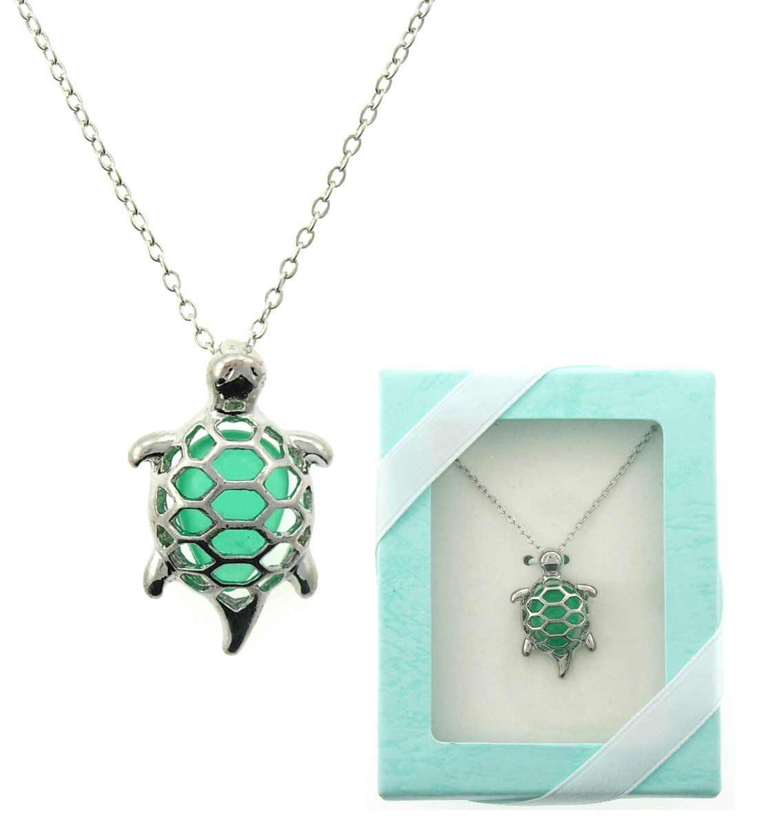 Jade green turtle necklace gift boxed jewelry