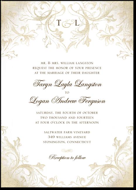 Faded Scroll Wedding Invitation Paper DivasBridal Shower