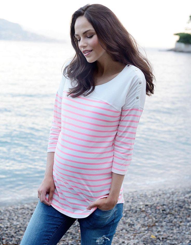Neon Pink Striped Cotton Maternity & Nursing Top