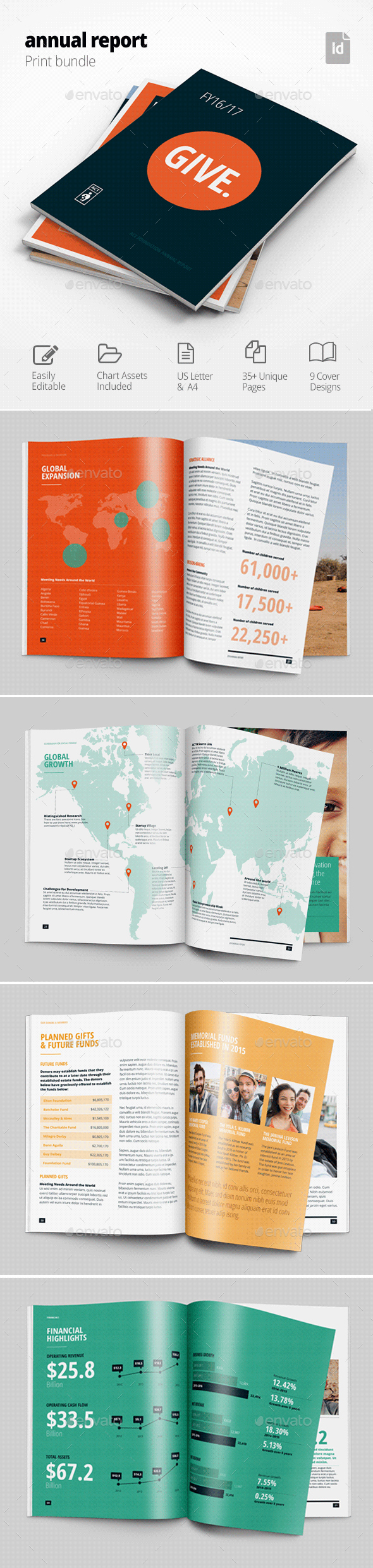This is a 50 page InDesign Annual Report Template Designed with real ...