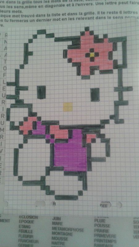 Hello Kitty Dessin Pixel Dessin Carreau Et Modele Dessin