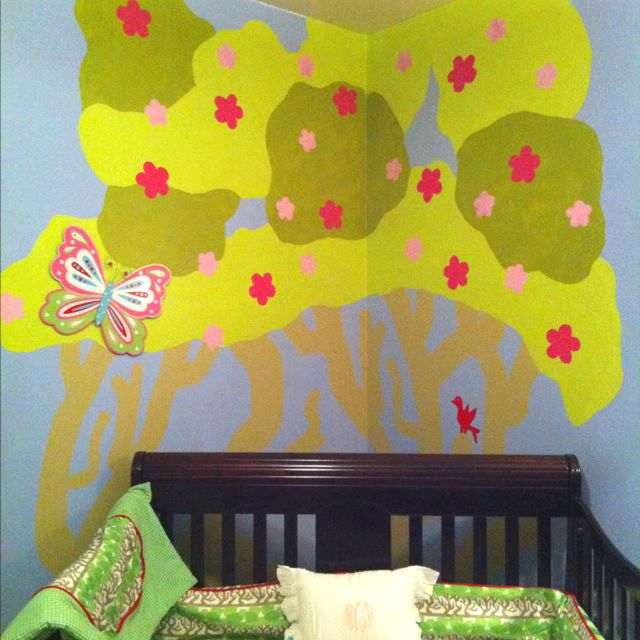 Creative way to paint a child's room! Find a pattern that you like (mine was a fabric pattern). Then copy it onto a clear projector sheet. Once you get that done, find a teacher friend and borrow a projector:) Project your image on the wall, trace and paint!