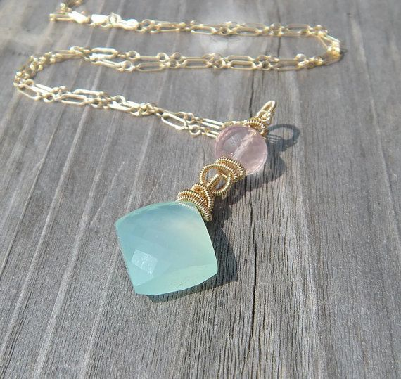 Chalcedony Necklace // Rose Quartz // Gold Fill on Etsy, $68.00