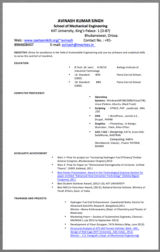 Automotive Engineering Resume Example AVINASH KUMAR SINGH School of ...