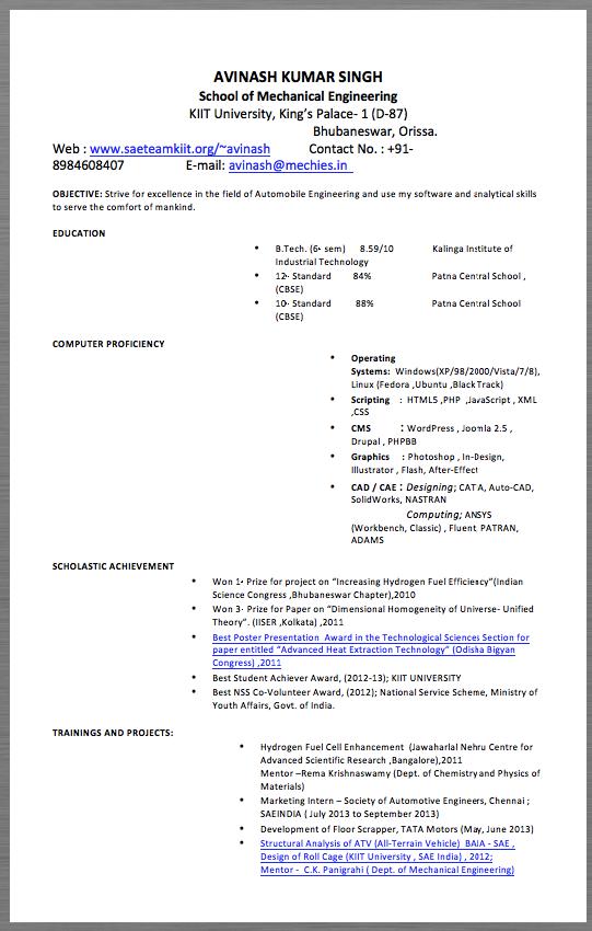 Automotive Engineering Resume Example AVINASH KUMAR SINGH