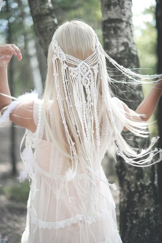 Photo of Macrame veil, Macrame wedding veil, Boho veil, Macrame Hairpiece, Bohemian veil, Bridal shower accessory, Macrame Headband, Unique Veil