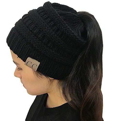 2e74cc9b1c4 Gagget Women s Winter Knit Cup Beanie Tail Ponytail Winter Warm Stretch  Cable Messy High Bun Knit · Ponytail BeanieBeanie HatsKnit ...