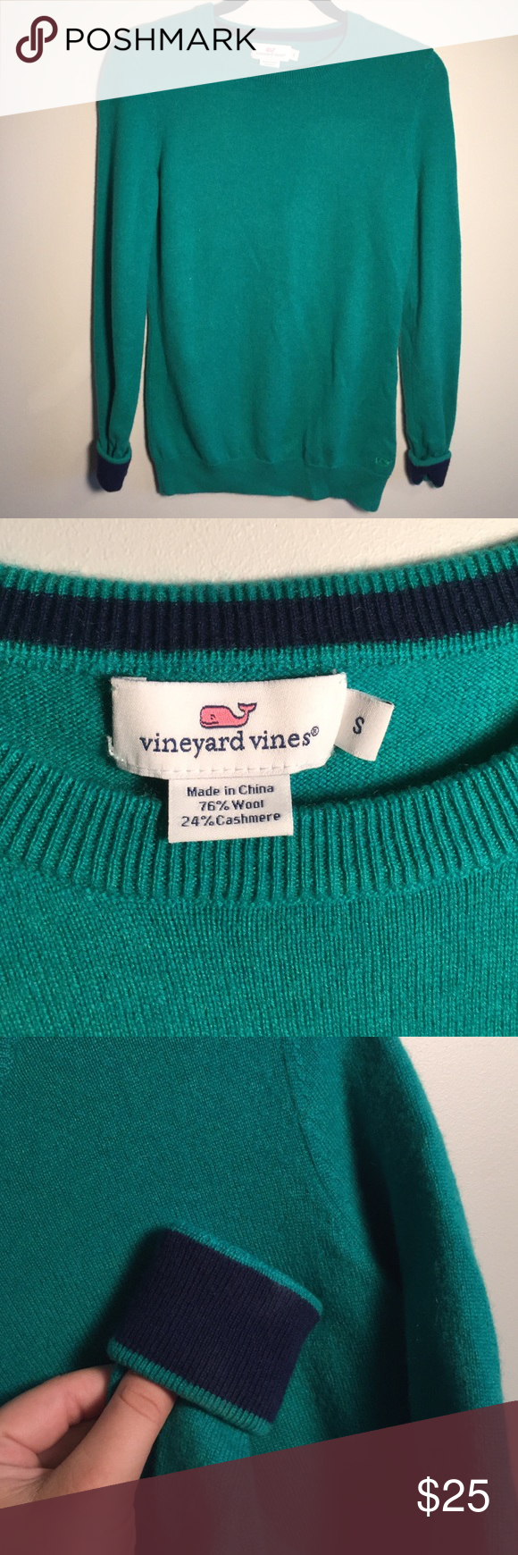 Vineyard Vines Green Sweater w/ Navy Detailing Smoke and Pet Free Home! Ships in 2 business days or it's free! Beautiful Vineyard Vines Sweater with Navy cuffs. 76% wool and 26% cashmere. Beautiful condition! Vineyard Vines Sweaters Crew & Scoop Necks