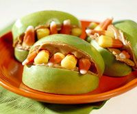 Youngsters will go batty over these apple-and-peanut butter treats, perfect for Halloween parties.