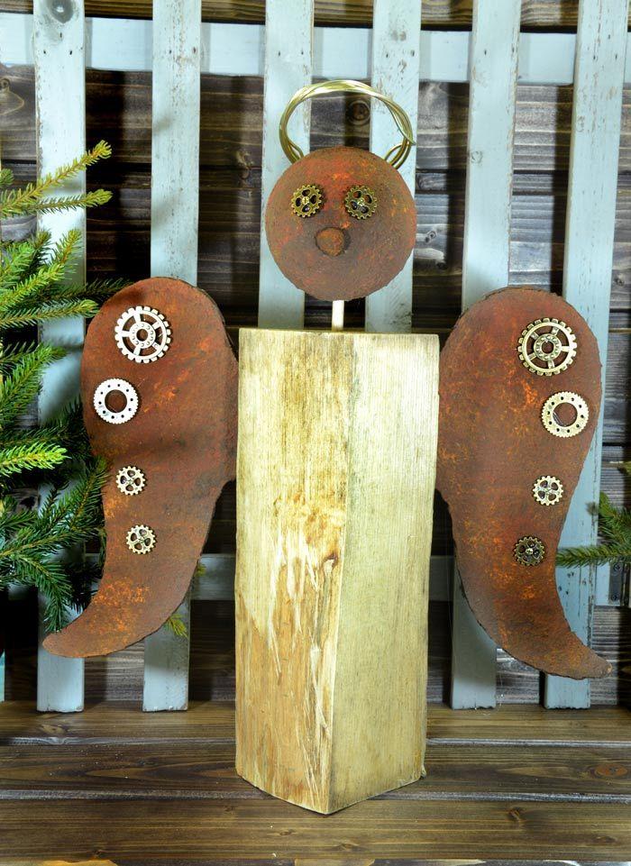 steampunk holzscheit engel im rost look idee mit anleitung klick auf besuchen basteln. Black Bedroom Furniture Sets. Home Design Ideas