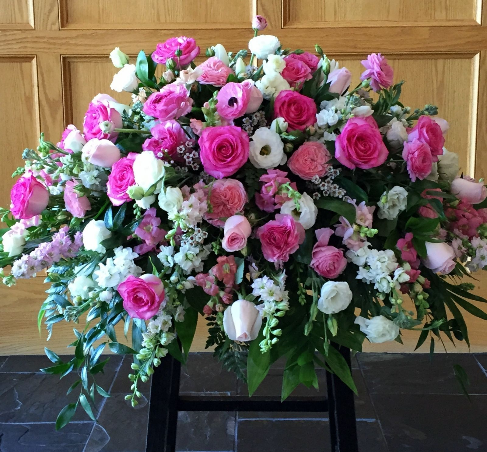 Pink And White Spring Casket Flowers Funeral Flower Arrangements Memorial Flowers