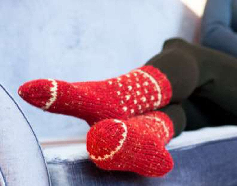 Adult Fairisle Socks in Plymouth Encore Chunky Tweed - F548 ...