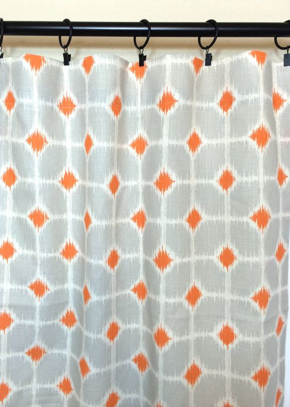 2 Panels Orange And Gray Ikat Geometric Curtain Panels Mandarin