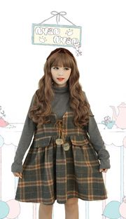 Japanese Mori style grey plaid college dress and sweater