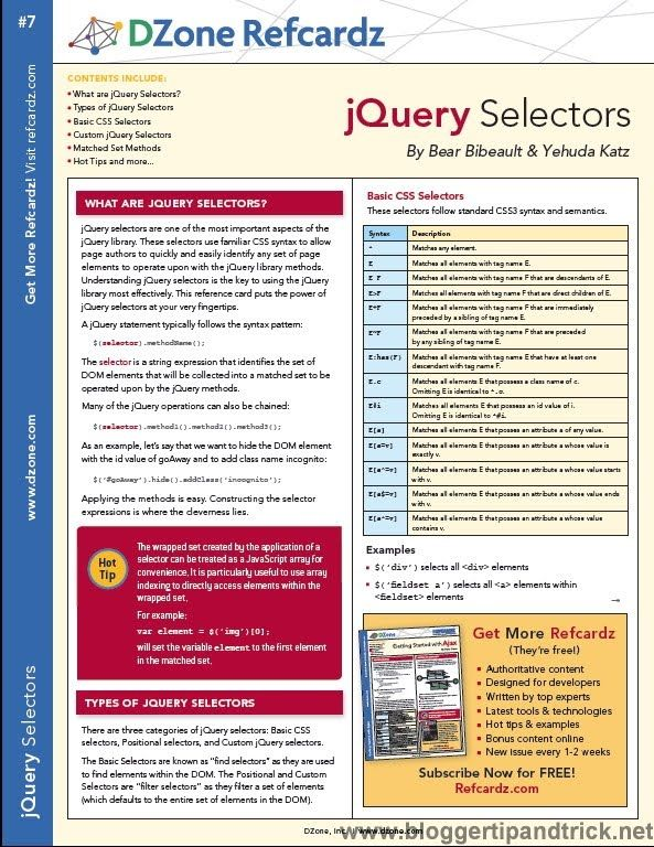 Most Wanted 15 jQuery Cheat Sheets for Web Developers JavaScript - new blueprint css cheat sheet