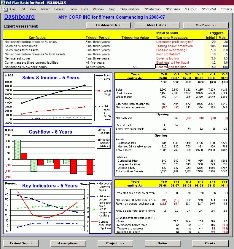 Simple Business Plan Template Excel