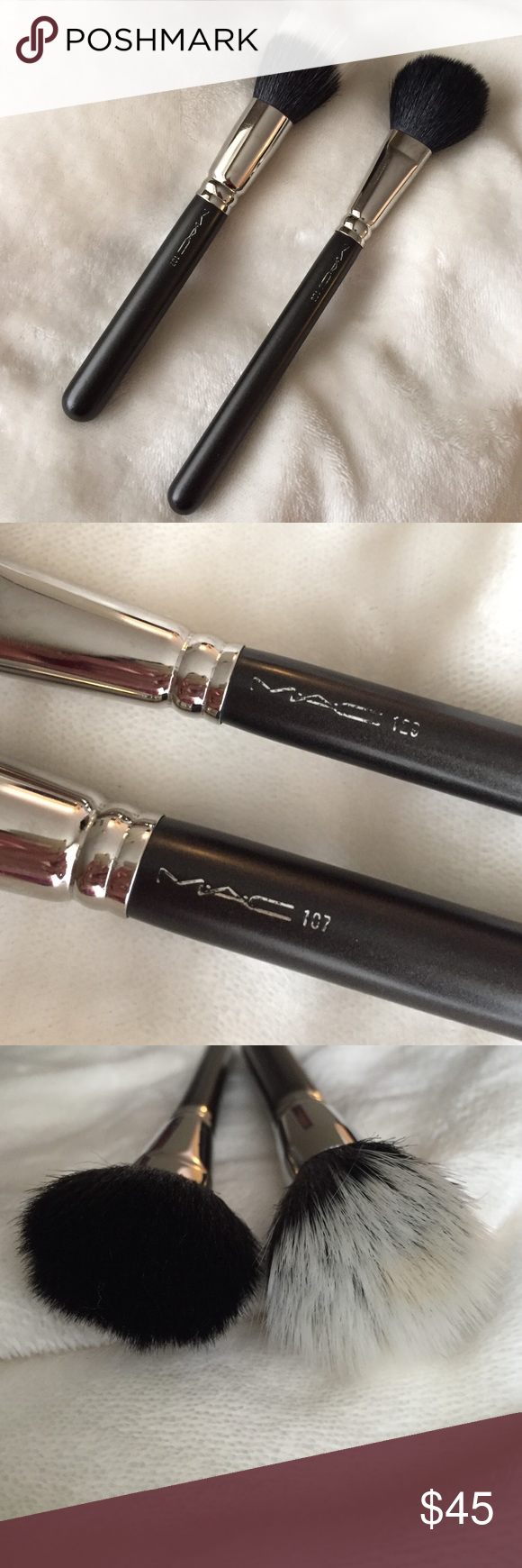 MAC 129 & 187 Synthetic Face Brush Set This post includes the 187 Duo Fibre Face brush & 129 Powder/Blush Brush. Both are used and still in great condition! The 129 brush has a full rounded shape, perfect for applying powder or blush on the cheeks. The 187 brush has a circular shape and is used for lightweight application and blending face powder or pigments. I personally love it for foundation and highlight. Its made from a soft blend of goat and synthetic fibres. All hand sculpted with…
