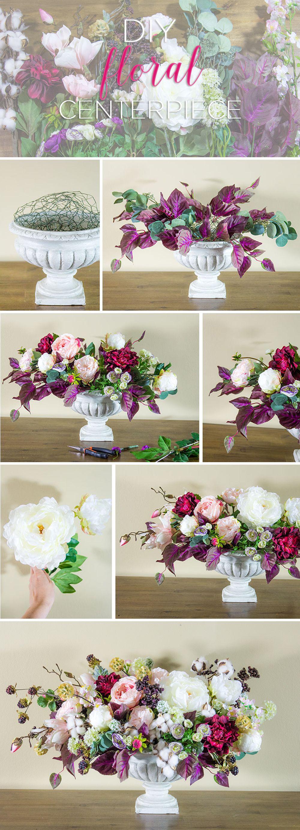 Diy Floral Centerpiece Floral Centerpieces Silk Flowers And Lush