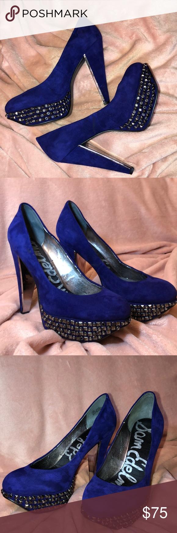 Sam Edelman suede royal blue heels in